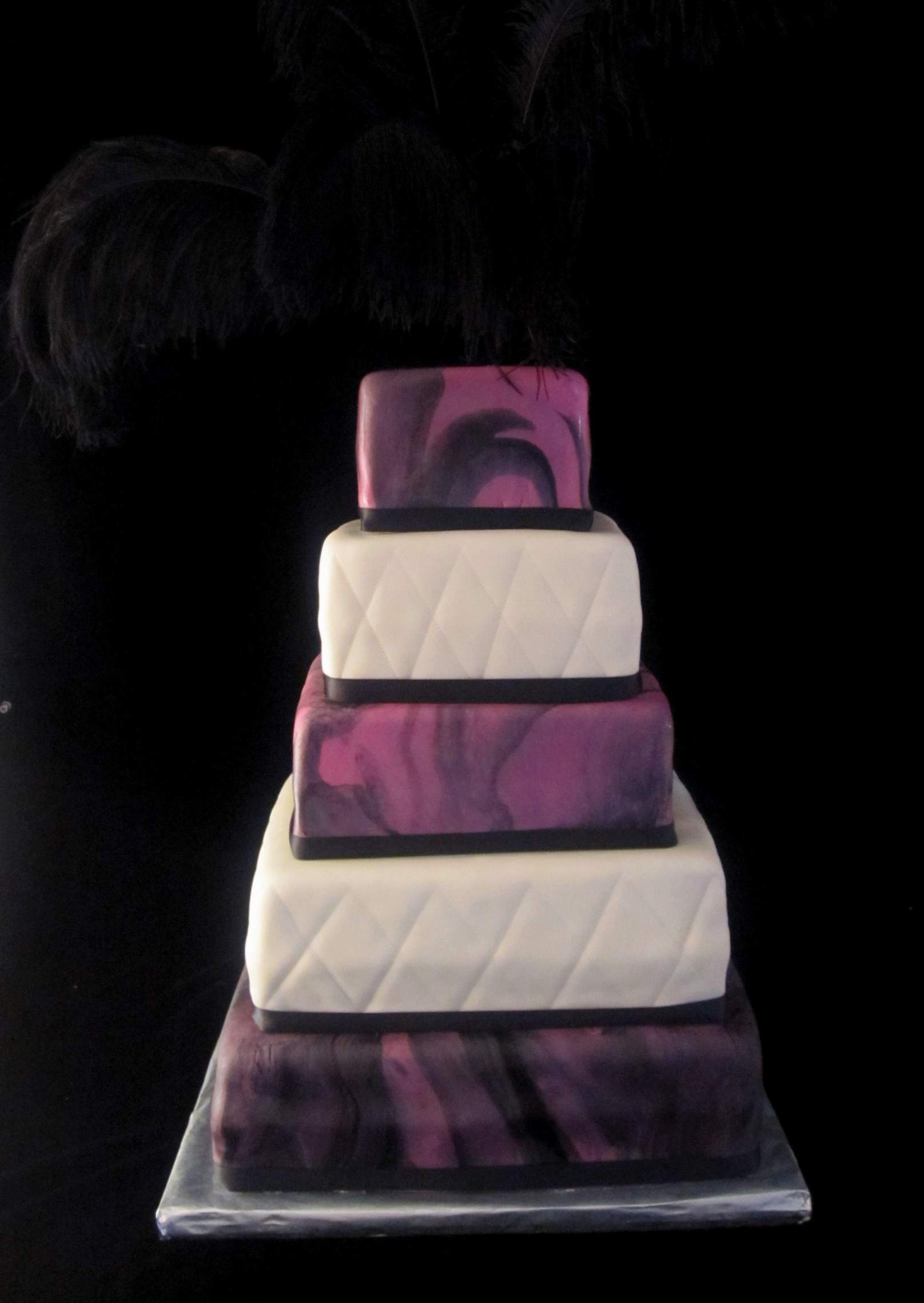 Marbled Hot Pink and Black Fondant Feathered Wedding Cake